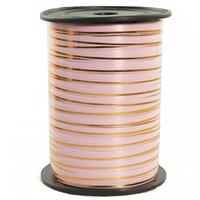 Лента 5мм x 250у Розовая с золотой полосой(Москва) А0547
