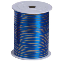 Лента 5мм x 250у Синяя с золотой полосой(Москва) А0536