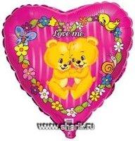 """1202-0412 Ф 18"""" Love Me Медвежата(FM)"""
