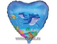 """1202-0427 Ф 18"""" Дельфины(FM)"""