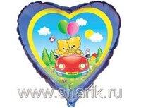 """1202-0451 Ф 18"""" Медвежата в автомобиле(FM)"""