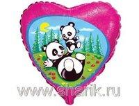 """1202-0467 Ф 18"""" Панды на поляне(FM)"""