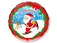 """1202-0905 Ф 18"""" Новый год Санта на лыжах/FM"""