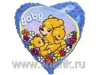 """1202-0971 Ф 18"""" Baby Мишки на голубом/FM"""