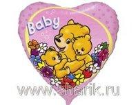 """1202-0972 Ф 18"""" Baby Мишки на розовом/FM"""