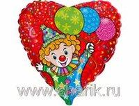 """1202-1095 Ф 18"""" Клоун с шарами/FM"""