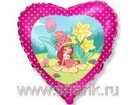 "1202-1190 Ф 18"" Девочка Клубничка в цветах/FM"