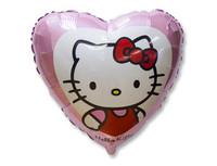 "1202-2036 Ф 18"" Hello Kitty в сердце розовом/FM"