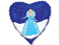 """1202-2054 Ф 18"""" Принцесса в синем сердце/FM"""