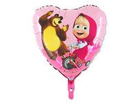 """1202-2162 Г 18"""" Маша и Медведь в сердце"""