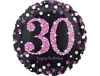 """1202-2721 А 18"""" HB Sparkling Birthday 30 pink S55"""
