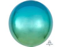 "1209-0267 А 3D СФЕРА Б/РИС 16"" Омбре Зелено-голуб"