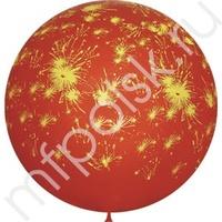 """M 36""""/91см Декоратор CHERRY RED (шелк) 6 ст. рис Салют 1шт"""