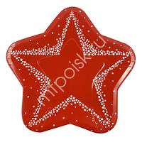Y 25см Тарелки-Звезды бумажные ламинированные Красные 6шт