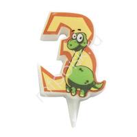 MC Свеча Цифра 3 Динозавр 5см