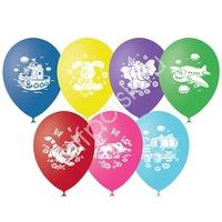 """M 12""""/30см Пастель+Декоратор (шелк) 2 ст. рис Детская тематика 50шт"""