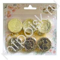 AB Свадебные монеты с пожеланиями золотые 4см 12шт