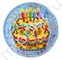 F 23см Тарелки бумажные ламинированные Праздничный торт 6шт