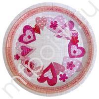F 23см Тарелки бумажные ламинированные Сердечки I love you 6шт
