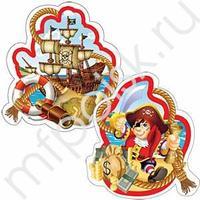 F Подвеска бумажная Веселый Пират-спираль 16см 4шт
