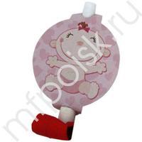 F Язычок-гудок с карточкой С днем Рождения, Малыш розовый 6шт