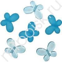 Q Декоративные бусины Мотылек голубые ассорти 3х2,2см 10шт