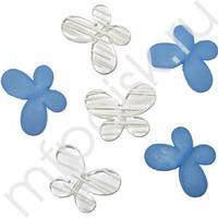 Q Декоративные бусины Мотылек синие ассорти 3х2,2см 10шт