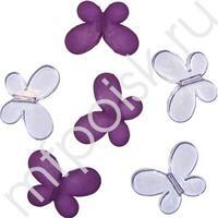 Q Декоративные бусины Мотылек фиолетовые ассорти 3х2,2см 10шт