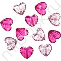 Q Декоративные бусины Сердечки Рубин ассорти 1,8х1,6см 20шт