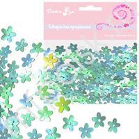 Q Конфетти перламутровое Цветы голубые 14гр