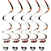 Q Подвеска фольгированная Сердце-спираль 15х15см 55см 5 шт