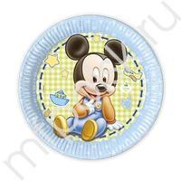 Pc 23см Тарелки бумажные ламинированные Малыш Микки 8шт