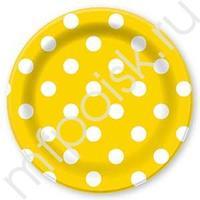 F 23см Тарелки бумажные ламинированные Горошек Желтый 6шт