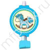 F Язычок-гудок с карточкой Лошадка Малыш голубая 6шт