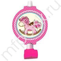 F Язычок-гудок с карточкой Лошадка Малышка розовая 6шт