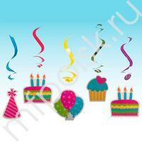 Q Подвеска бумажная С Днем Рождения-спираль 10см 5шт