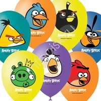 "M 12""/30см Пастель+Декоратор (шелк) 1 ст. 3 цв. рис Angry Birds 50шт"