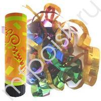 AC 16см Пневмохлопушка пружинная фольгированное конфетти 24шт/уп