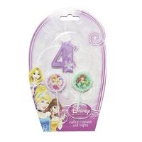 MC Свечи для торта (цифра 4, медальоны 2шт) Дисней Принцессы