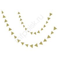 Y Подвеска Треугольники 5см gold глиттер 120см