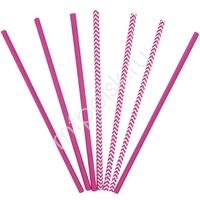 Y Трубочки бумажные ассорти Hot Pink 12(6+6)шт