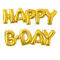 Y Фигура 88 буквы HAPPY B-DAY GOLD 59см Х 90см