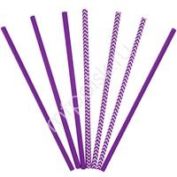 Y Трубочки бумажные ассорти Purple 12(6+6)шт