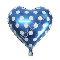 """Y Сердце 46 BLUE Горошек белый 18""""/45см"""