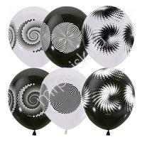 """M 12""""/30см BLACK&WHITE (шелк) 4 ст. рис Иллюзия 25шт"""