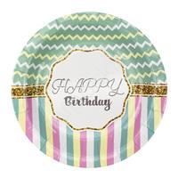 F 18см Тарелки бумажные ламинированные Happy Birthday Тиффани 6шт