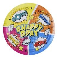 P 23см Тарелки бумажные Комиксы #HappyBday 6шт