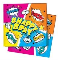 P 24х24 Салфетки Комиксы #HappyBday 12шт