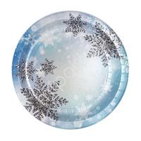 Тарелки бумажные Снежинки 23 см 6 шт