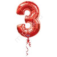 A Фигура Цифра 3 красная 66см X 86см